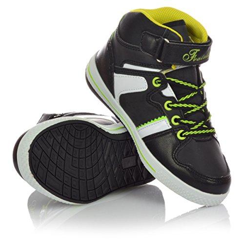 Kinderschuhe Jungen Mädchen Sneaker Schnürer Freizeitschuhe Klettverschluss Schwarz
