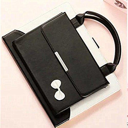 iPad Pro 9.7 Hülle, TechCode Portable Handtasche Stand Case PU Leder Tasche mit Griff Tasche Tasche Etui Schutzhülle für Apple iPad Pro 9.7 zoll 2016(iPad Pro 9.7, Schwarz) (Schal Tastatur)