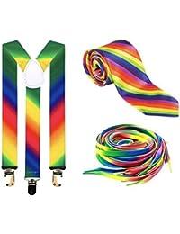 Gay Pride Set: Rainbow Braces, Tie & Laces (LGBT)