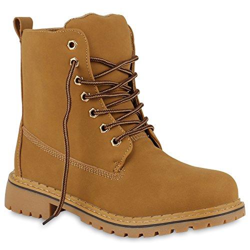 Gefütterte Damen Worker Boots Outdoor Stiefeletten Profil Sohle Hellbraun