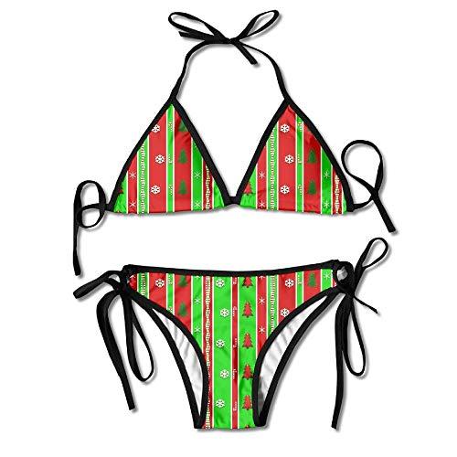 Colorful Christmas Tree Pattern Women's Bikini Set Tie Side Bottom Tops Swimwear Swimsuits