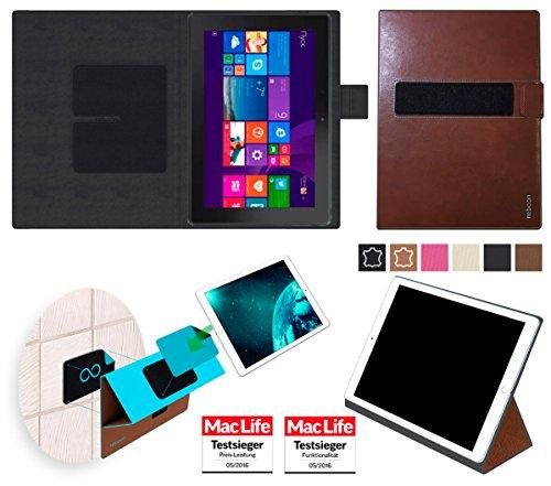 reboon Hülle für Dell Venue 10 Pro 64 GB Tasche Cover Case Bumper | in Braun Leder | Testsieger