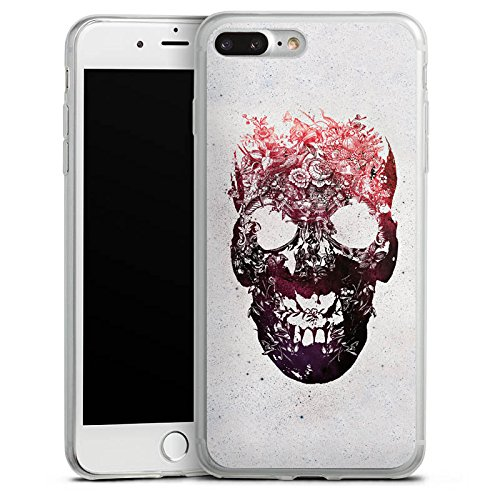 Apple iPhone 8 Plus Slim Case Silikon Hülle Schutzhülle Totenkopf Skull Schädel Silikon Slim Case transparent