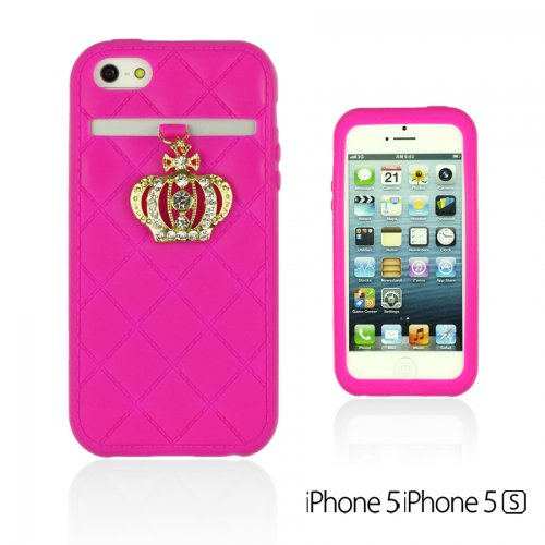 OnlineBestDigital - Crown Style Soft Silicone Case / Housse pour Apple iPhone 5S / Apple iPhone 5 - Jaune Hot Pink