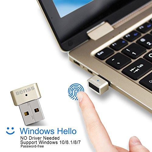Benss Lettore di impronte Digitali Mini USB Fingerprint Reader per Win7 / 8 / 8.1 / 10, senza bisogno di driver, laptop / PC / desktop con abbinamento veloce a 360 gradi con certificazione WQHL.
