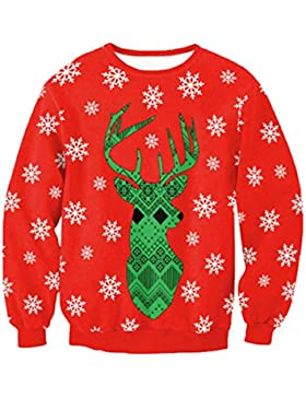 Camicetta Donna , Xmas Christmas Snowflake Deer Donna Uomo Felpa Felpa Camicetta Top