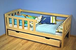 Kinderbett mit Absturzsicherung Kiefer Vollholz massiv natur A17, inkl. Lattenrost - Abmessung 70 x 160 cm - inklusive Matratze