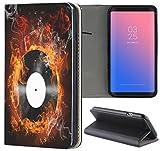 Huawei P10 Lite Hülle Premium Smart Einseitig Flipcover Hülle P10 Lite Flip Case Handyhülle Huawei P10 Lite Motiv (459 Schallplatte Vinyl Flammen Feuer Schwarz Gelb)