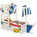 WICKEY Abenteuer-Bett CrAzY Bounty Kinderbett 90x200 Spielbett für Kinder mit Lattenboden, Spielpodest und Schiffanbau, blau + weiße Farbe