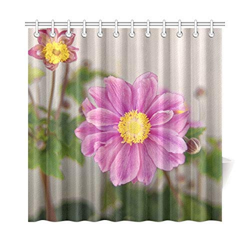 HOJJP Bath Curtain Flowers Home Garden Green Petals Orange Yellow Polyester Fabric Waterproof Shower Curtain for Bathroom, 60W X 72L Inches Shower Curtains Hooks Included