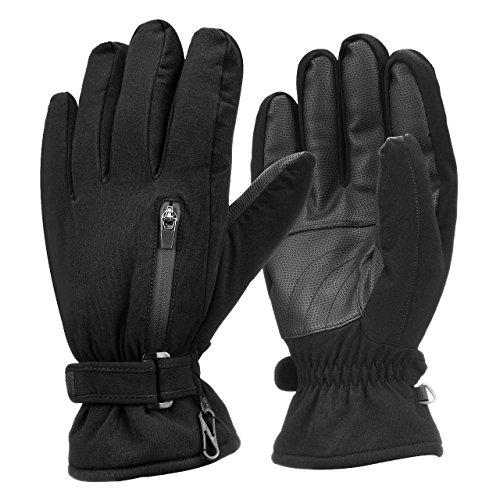 OMorc Wasserdicht Winddicht herren Winter Thinsulate Thermische Warme Schnee Ski Snowboard Snowmobile Ski Handschuhe mit Reißverschlusstasche