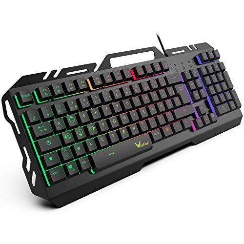 Clavier Gaming, WisFox Clavier Filaire USB Rétroéclairé à LED Arc en Ciel Coloré, Clavier d