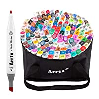 Arrtx 168 Colors Dual Tip Markers Set, Alcohol Art Sketch Pen Marker for Graphic Drawing Painting Design Coloring Highlighting with Carrying Bag