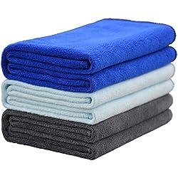 Hope Shine juego de toallas gimnasio microfibra secado rápido toallas deportivas suaves Paquete de 3, 40cm X80cm (Azul oscuro +Azul claro +Gris)