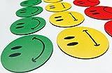 30 bunte Smiley Magnete (10 grüne lachende Smileys / 10 gelbe neutrale Smileys / 10 rote traurige Smileys) / Durchmesser 5cm