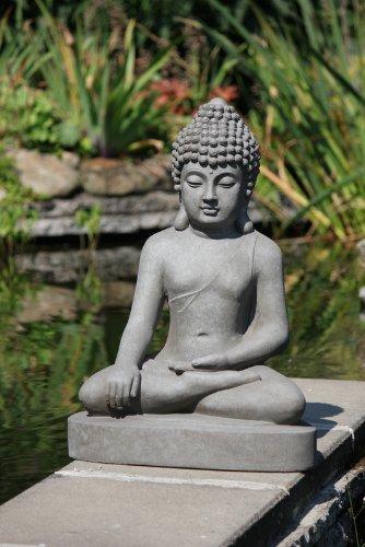Figur Buddha sitzend Bhumisparsha-mudra – für Haus und Garten – Höhe 80 cm – grau - 2