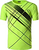 jeansian Hombre Camisetas Deportivas Wicking Quick Dry tee T-Shirt Sport Tops LSL133 GreenYellow L