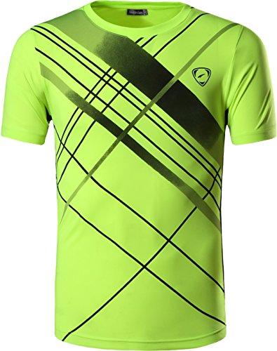 jeansian Herren Sportswear Quick Dry Short Sleeve T-Shirt LSL133, Greenyellow, USA XL(180-185cm 75kg-80kg)