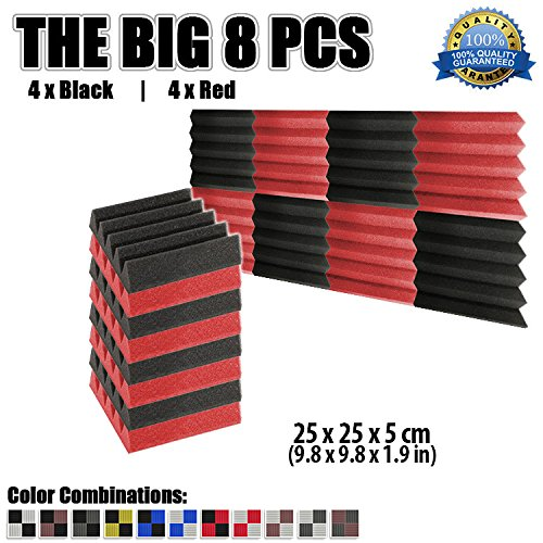 super-dash-8-pieces-of-25-x-25-x-5-cm-wedge-black-red-acoustic-soundproofing-foam-studio-treatment-w