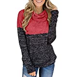 KUDICO Damen Casual Sweater Turtleneck Tops Lange Ärmel Splice Tunic Bluse Pullover Sweatshirt(rot, EU-40/CN-XL)
