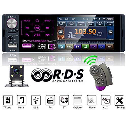 QLPP Autoradio mit Bluetooth, 1-Zoll-Autoradio, MP5-Player, Media Player, kapazitivem 4,1-Zoll-Touchscreen, AM/FM/RDS-Radio, IR-Rückfahrkamera, Spiegelverbindung, 7-Farben-Hintergrundbeleuchtung