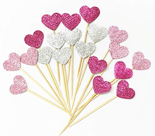Lming Handmade 20 Counts 3 Farben Glitter Kuchen Dekorieren Toppers FÜR Kuchen Cupcake Und EIS - Rosa Herzen (Rosa Kuchen-topper)