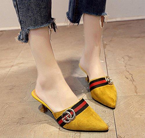 In scharfem Kopf mit fein mit Frauen Sandalen und Pantoffeln Fräulein Xia Ji Sandalen Yellow
