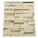 ZCHENG 3D Wandaufkleber Ziegelstein Muster Strukturierte Vlies Tapete für Küchenmöbel Aufkleber PVC Wohnkultur 0,53 * 10 mt / 0,23 * 9,5 mt, Gelb