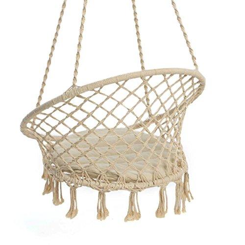 Hängesessel zum Aufhängen – mit rundem Sitzkissen – inkl. Spreizstab – Weiß Beige – Belastbarkeit max. 100 kg - 7