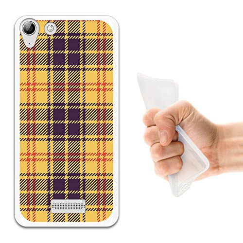 WoowCase Wiko Selfy 4G Hülle, Handyhülle Silikon für [ Wiko Selfy 4G ] Gelbe schottenkaro Linien Handytasche Handy Cover Case Schutzhülle Flexible TPU - Transparent