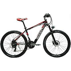 """RICH BIT® Bicicleta eléctrica montaña TP800 250 W * 36 V LG recargable oculta en marco 21 marchas, ruedas de 26""""freno de discode Suspensión Freno de disco Unisex"""