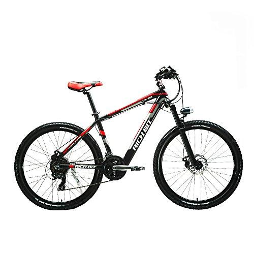 RICH BIT® mountain bike TP800 elettrico 250 W * 36 V*10.4Ah batteria LG nascosto in telaio 21 rotelle 26'' ruota freno a disco