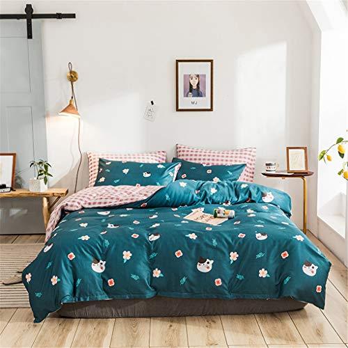 Mädchen Zipper Bettwäsche Twin Cats Kitten Bettbezug Tagesdecke Bettdecke Green Floral Bed Set for Mädchen Teens Twin Pink Flower Kissenbezug Karierte Plaid Sheets Square Grid Bettdecken NO Quilt