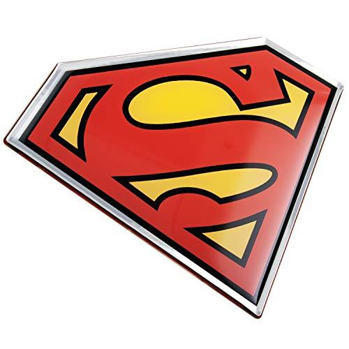 Fan Emblems Superman Logo Auto Aufkleber gewölbt/schwarz/rot/gelb/Chrom-Finish, DC Comics Automotive Emblem Gilt leicht für Autos, LKWs, Motorräder, Laptops, Handys, Windows, fast alles