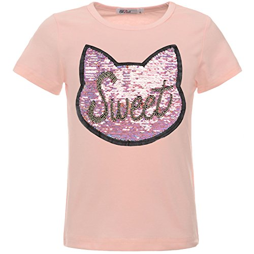 BEZLIT Mädchen Kinder T-Shirt Wende-Pailletten Glitzer Katze Oberteil 22549 Rosa 116