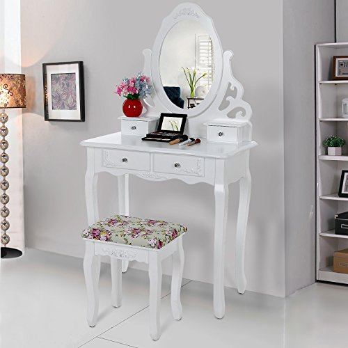 songmics aush hlen schminktisch mit spiegel u hocker 4 schubladen inkl 2 st ck unterteiler. Black Bedroom Furniture Sets. Home Design Ideas