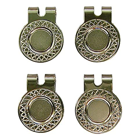 4 Silver Magnetic Hat Clips for Metal Golf Ball Markers