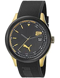 Puma Motorsport Wheel 3HD Unisex Quartz Watch with Black Dial Analogue Display and Black Plastic or PU Strap PU102731004