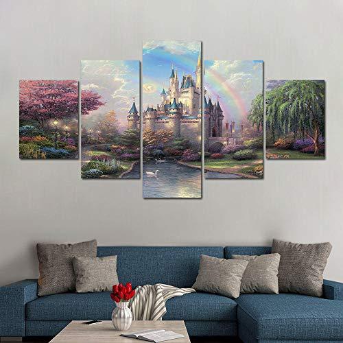 xvhsx Leinwanddrucke 5 Panel Hd Drucken Thomas Kinkade New Day Im Cinderella Castle Gemälde Leinwand Wandkunst 5 Stück Bild -