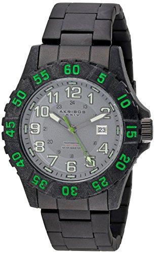 Akribos XXIV da uomo, colore: grigio-Orologio da donna al quarzo con Display analogico e braccialetto in acciaio INOX con AK794GN, colore: nero