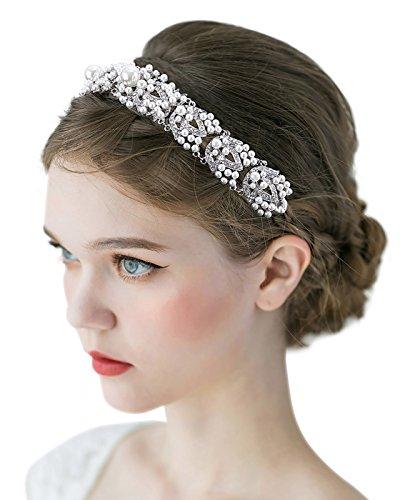SWEETV Vintage Pearl Wedding Headband Tiara Crystal Bridal Hair Accessories w/ Ivory Satin Ribbon