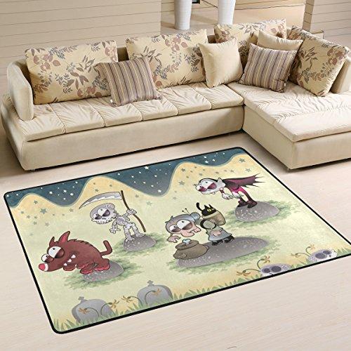 DEYYA Moderne Halloween Landschaft Wolf Vollmond Flokati Teppiche für Wohnzimmer und Schlafzimmer, Griffige Bereich Teppich für Kinder Schlafzimmer-Dekor, 36 x 24 Zoll Multi