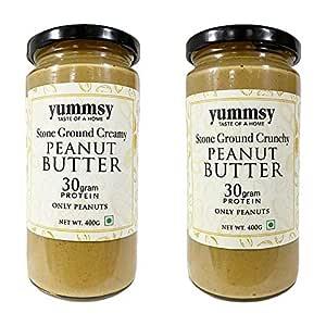 Yummsy Peanut Butter (Creamy + Crunchy) . Stone Ground, High Protein & Organic. 800g. No Added Sugar, Vegan.