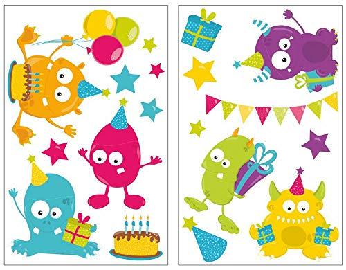 Samunshi® 18-teiliges Monster Geburtstag Wandtattoo Set Kinderzimmer Babyzimmer in 5 Größen (2x16x26cm Mehrfarbig)