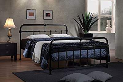 Mandy Double Metal Bed Frame Black Hospital Style Small Double King Size Beds
