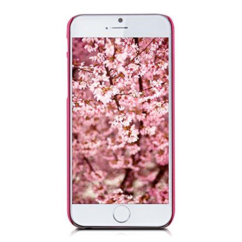 kwmobile Étui rigide Design marbre pour Apple iPhone 6 / 6S en noir blanc rectangle à paillettes rose foncé blanc