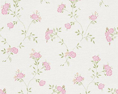 *A.S. Création Vliestapete Liberté Tapete Landhaus Shabby Chic 10,05 m x 0,53 m grün rosa weiß Made in Germany 305221 30522-1*