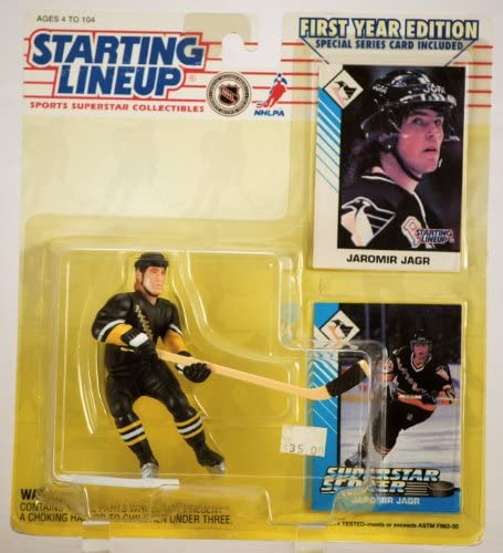 1993 - Kenner / Tonka - - - NHL - Starting Lineup / Rare First Year Edition - Jaromir Jagr / Pittsburgh Penguins Action Figure - w/ 2   Trading Cards - Mint - Limited Edition - Collectible by Starting Line Up | Expédition Rapide  e5a006