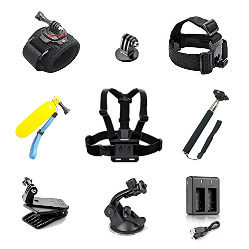 YDI 10 in 1 Sport Action Kamera Zubehör Bundle Kits für GoPro Hero Sport cam- Head Strap + Brustgurt + Handschlaufe + folating Griff + Selfie Stick + Back Clip + Saugnapf + KFZ Halterung + USB Kabel + ladegerät