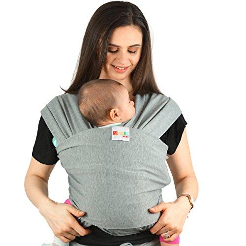 Fascia Porta Bebè in cotone | Fascia multiposizionamento soffice e resistente per bambini dalla nascita ai 15 kg (Grigia)
